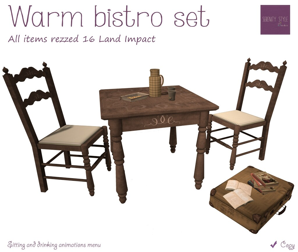 Serenity Style- Warm Bistro Set