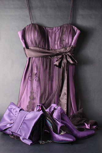 Purple dress, shoes, handbag