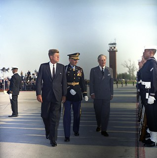 President John F. Kennedy and Prime Minister of Great Britain, Harold Macmillan, Inspect Honor Guard Troops