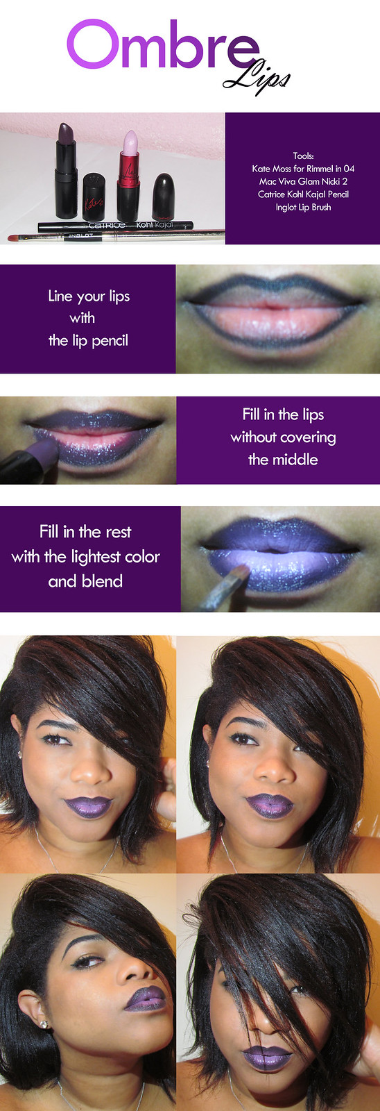 ombre lips, mac, rimmel, catrice, inglot, nicki minaj, viva glam 2, kate moss, make up, beauty, tutorial, get the look,black make up