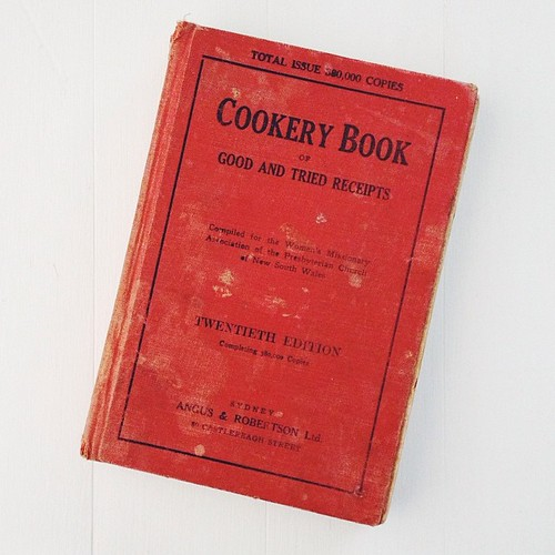 1931 20th edition of the 'Cookery Book of Good and Tried Recipes' - belonged to my mother-in-law's mum. I love this stuff - the ads are hilarious and the recipes fascinating. Makes me feel like I should be wearing a house dress and apron just to read it.