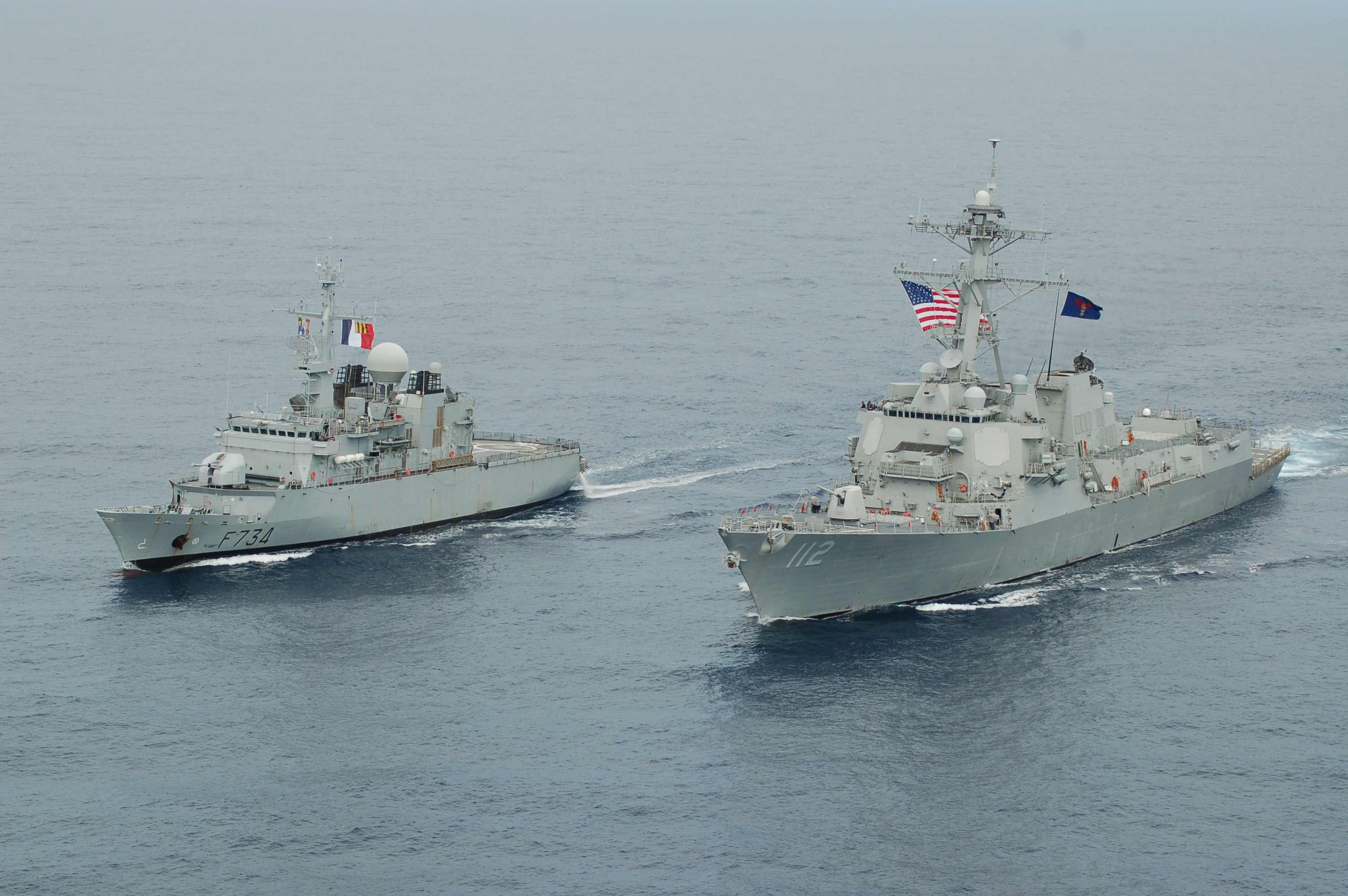 French Frigate FS Vendemiaire and US Destroyer USS Michael Murphy operating in the South China Sea