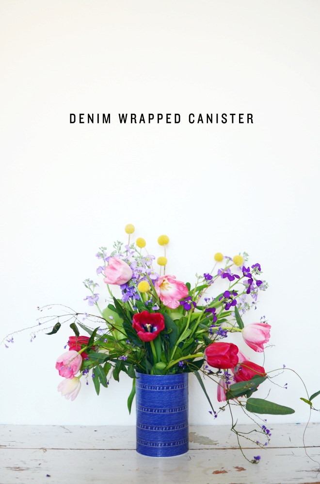 denim wrapped canister