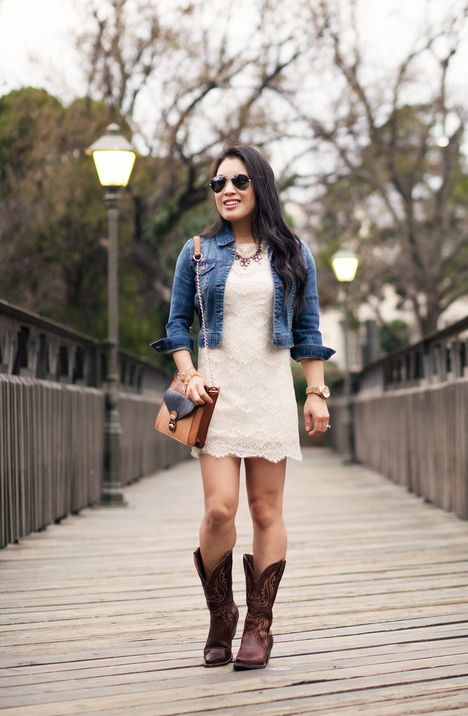 0279ad6abd1 Lace Dress + Cowboy Boots // Ariat Boots Giveaway! - cute & little ...