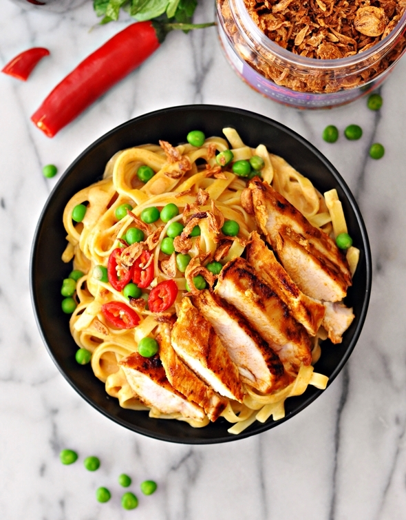 "Thai Style ""Alfredo"" with Pan Seared Spiced Chicken 