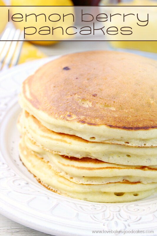 These Lemon Berry Pancakes are perfect for breakfast or dinner! Use your favorite berry paired with lemon for a delicious flavor explosion!