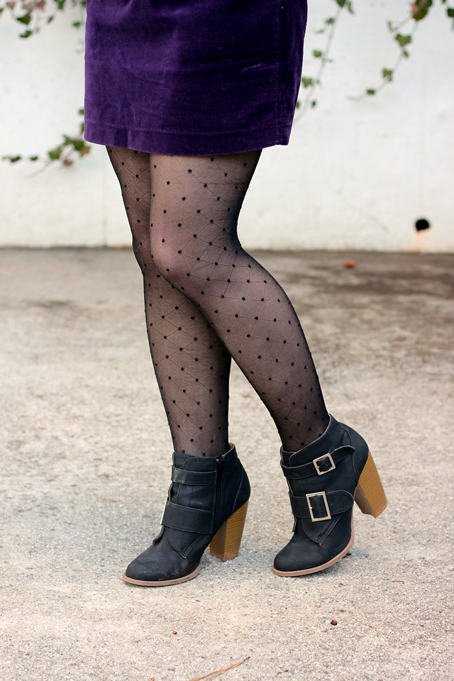 Dotted Betsey Johnson Tights with a Purple Mini Skirt, and Black Ankle Boots