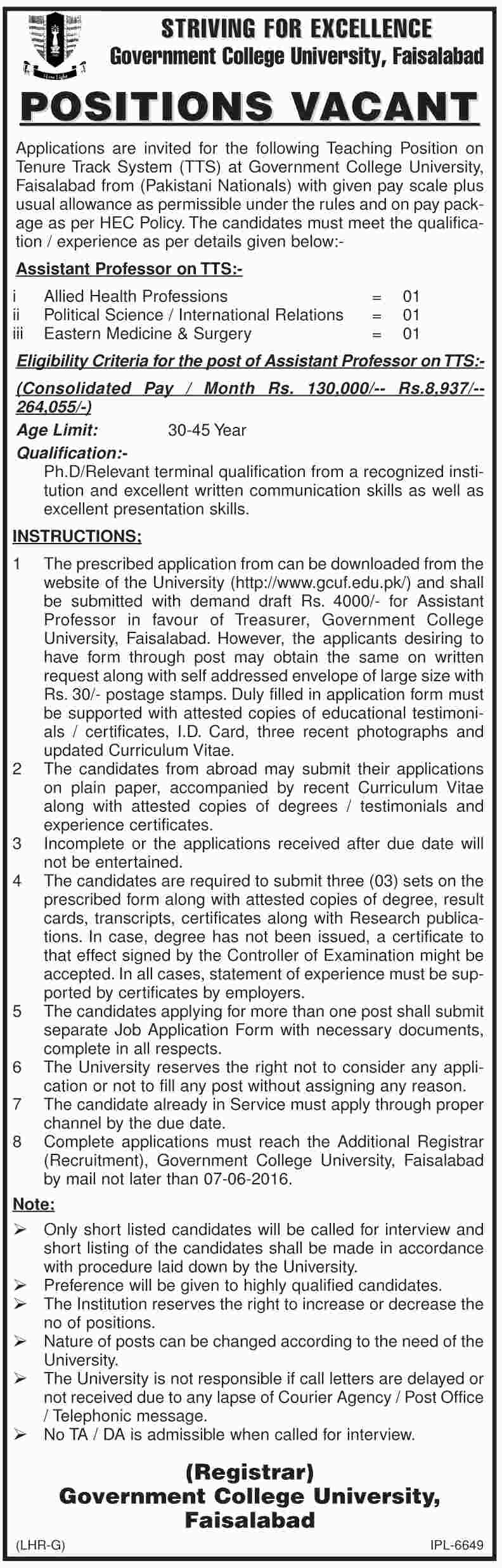 Government College University Faislabad Faculty Required