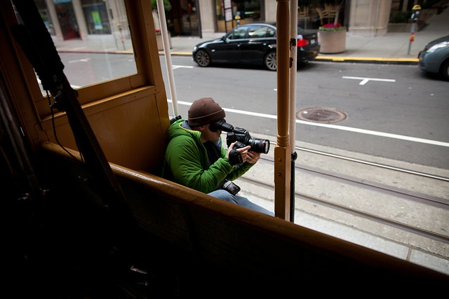 Manfrotto Be Free Tripod ad shoot BTS - San Francisco on the trolley