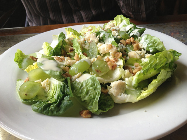 Grape, blue cheese and walnut salad