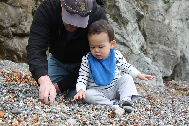 playing with dad and rocks
