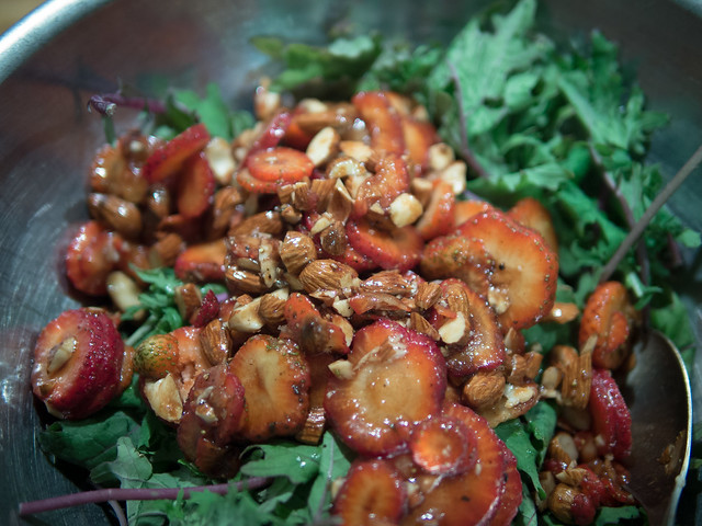 Strawberry, Kale, Black Pepper, Balsamic and Almond Salad (Recipe) Strawberry Nuts Kale Balsamic Almond