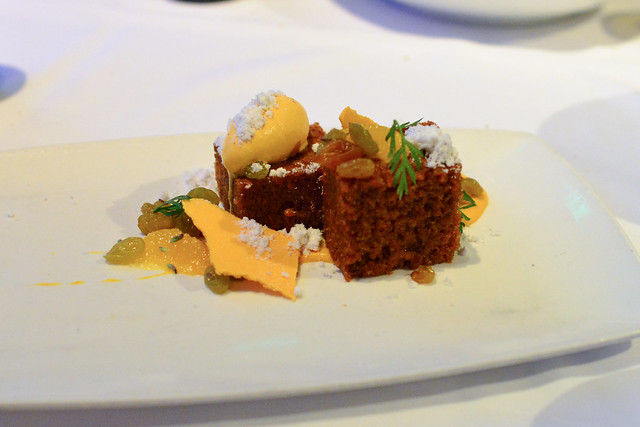 Carrot Cake, citrus, brown butter, lavender raisins, carrot ice cream