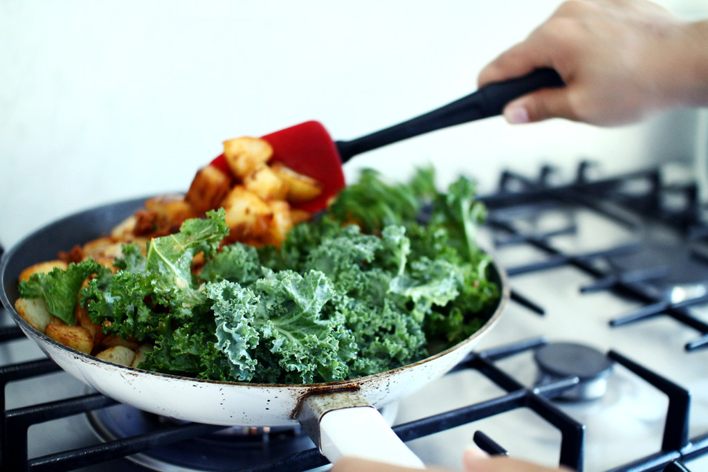 cooking the kale hash
