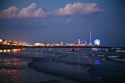 Pleasure Pier in the Distance at Galveston Beach