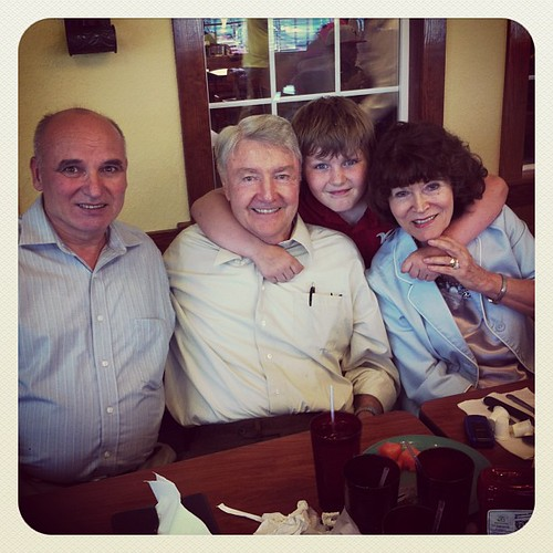 Hanging with the gramds plus one of their friends.