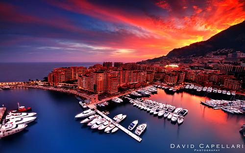 city sunset david port montecarlo monaco yachts fontvieille hdr rocher capellari