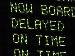 """""""DELAYED"""" message at Boston North Station"""