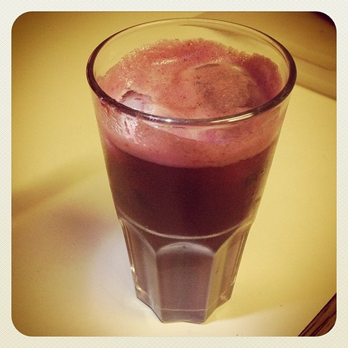 Yum! Juicing - Beet, Apple, Carrot and Ginger. What a beautiful color! This photograph does not do this juice justice. www.therabbitandtherobin.co.za {follow me @robindeel on Instagram} Official @rabbitandrobin  #beet #apple #carrot #juice #juicing #ginge