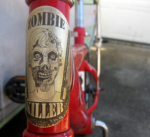 artbywinona posted a photo:	zombie killer bicycle head badge in brass