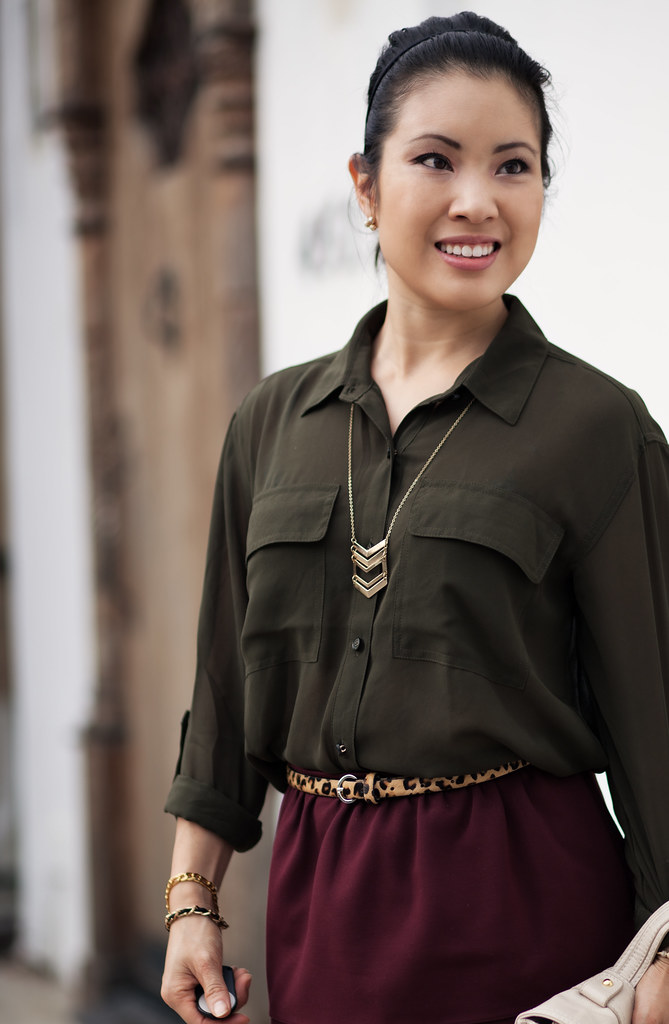 cute & little blog | olive army shirt, chevron necklace, burgundy full skirt, studded nude pumps outfit #ootd