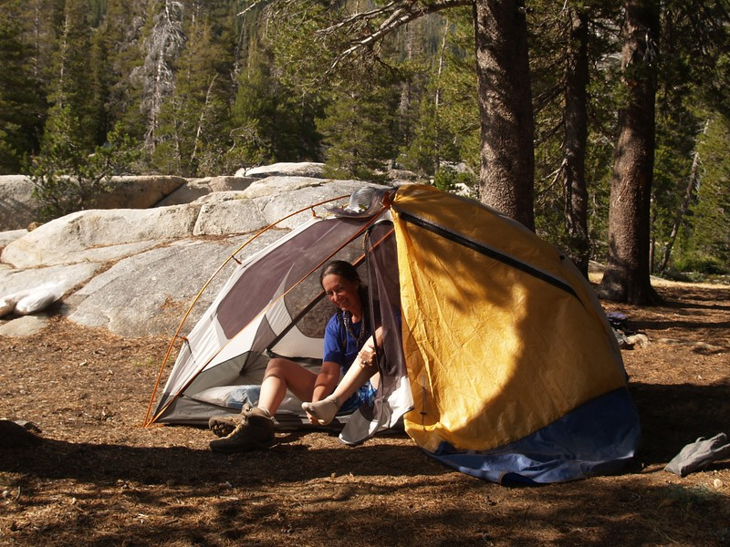 Our tent near Return Creek in Virginia Canyon on the Pacific Crest Trail (PCT)