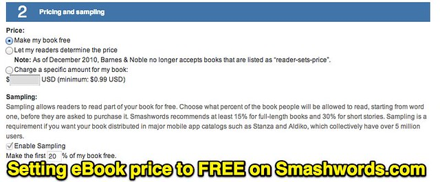 Setting eBook price to FREE on Smashwords.com