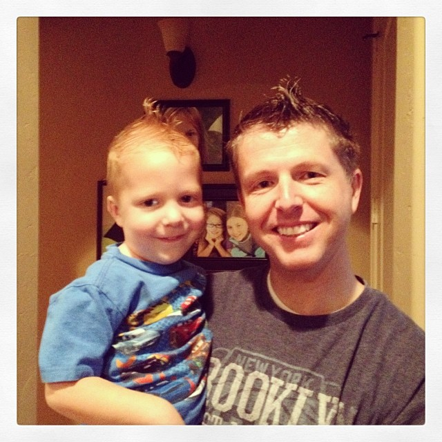 Owen wanted a Mohawk. Then he wanted daddy to have a Mohawk.