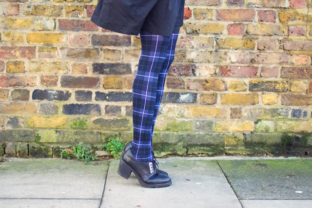 blue tartan tights