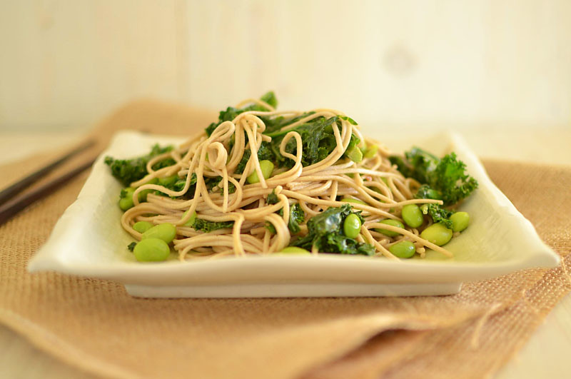 Peanut Soba Noodles with Kale and Edamame via LittleFerraroKitchen.com