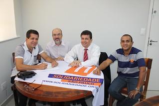 David Martins, presidente estadual, Wilson de Araújo, o pré-candidato a federal Cássio Vieira e o coordenador regional Fábio Pereira