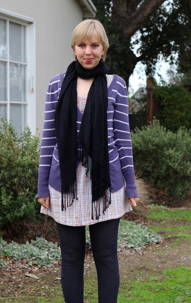 striped purple cardigan, black pashmina