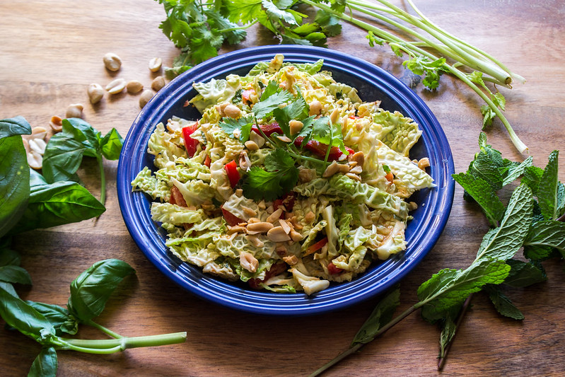 savoy cabbage slaw with peanut dressing