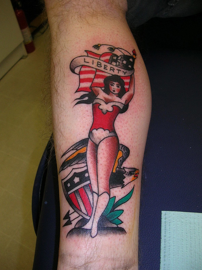 Traditional pinup eagle flag shield tattoo by krooked ken for Traditional pin up tattoos