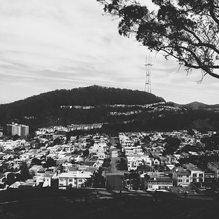 Little boxes on a hillside.... Part I of the 'grand view' from the Turtle Hill ☁ #sf #sanfrancisco #grandviewpark #turtlehill #view #sutrotower #architecture #buildings #sky #trees #city #light #chasinglight #shadows #horizon #sunsetdistrict #innersunset