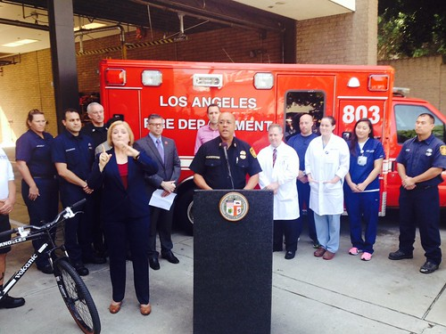 L.A. Fire Chief Speaks at April 21, 2014 Press Conference where a Marathon Cardiac Arrest Survivor was Reunited with Rescuers and Hospital Staff