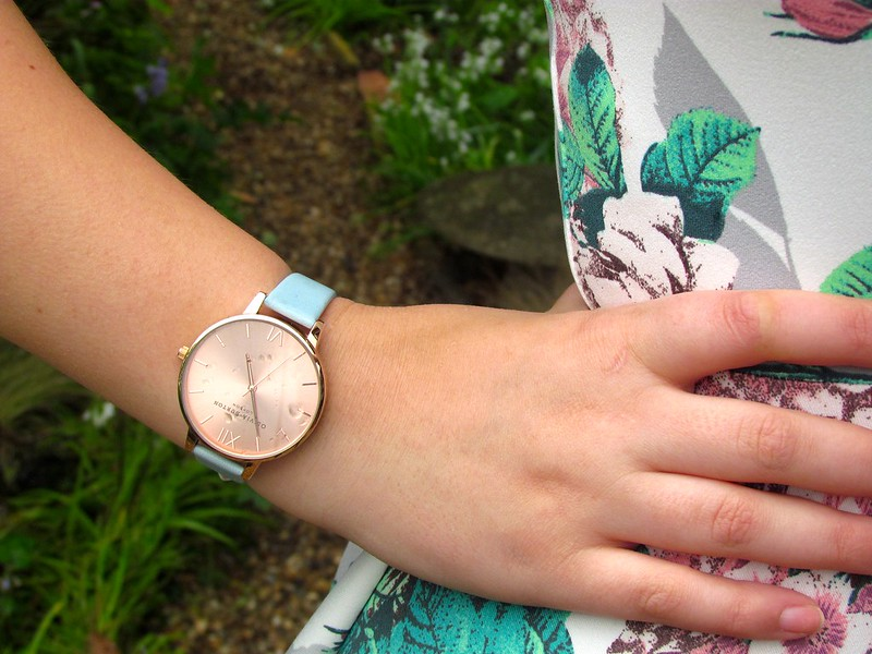 Olivia Burton Powder Blue and Rose Gold Big Dial Watch