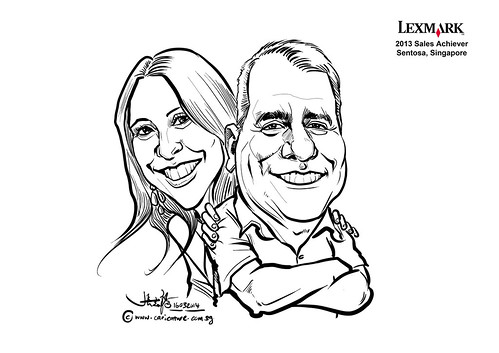 digital couple caricatures for Lexmark - Vicki M Barrington