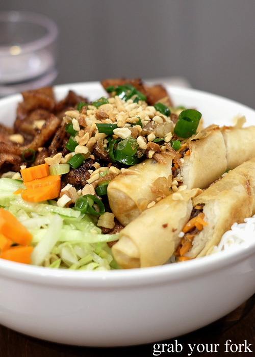Bun thit nuong cha do vermicelli salad with bbq pork and spring rolls at Me Oi, Strathfield