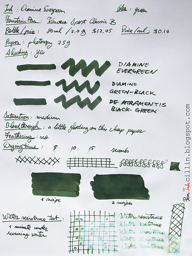 Diamine Evergreen on photocopy
