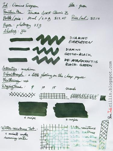 Diamine Evergreen on photocopy