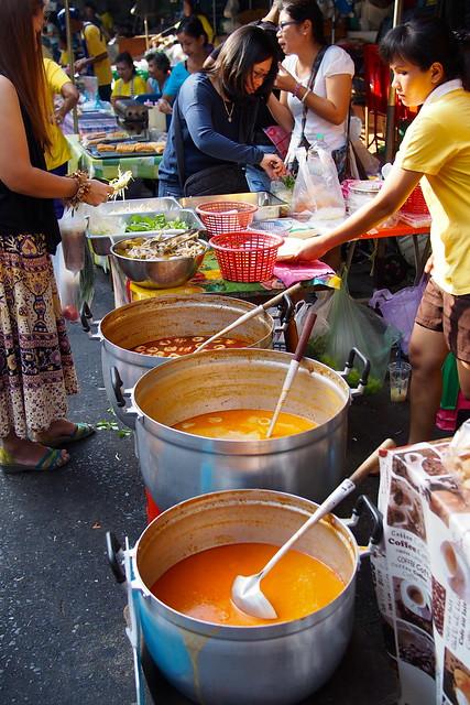 vats of curry, Silom Soi 20 market, Bangkok, Thailand