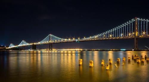 sanfrancisco california ca longexposure sky night oakland sfo clear baybridge baytrail rinconpark pier14