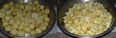 steamed gooseberries