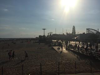 Image of Coney Island Beach near Coney Island. ocean nyc newyorkcity newyork beach coneyisland island parade boardwalk mermaid coney mermaidparade iphone coneyislandmermaidparade