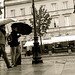 walking the streets of Warsaw in the rain
