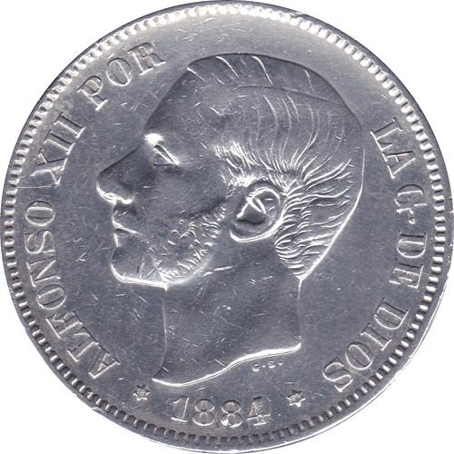 5 Pesetas Alfonso XII 1884 *18 *84 M.S.  M. 8859367232_304654120c