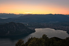 Lugano, overview with sunset
