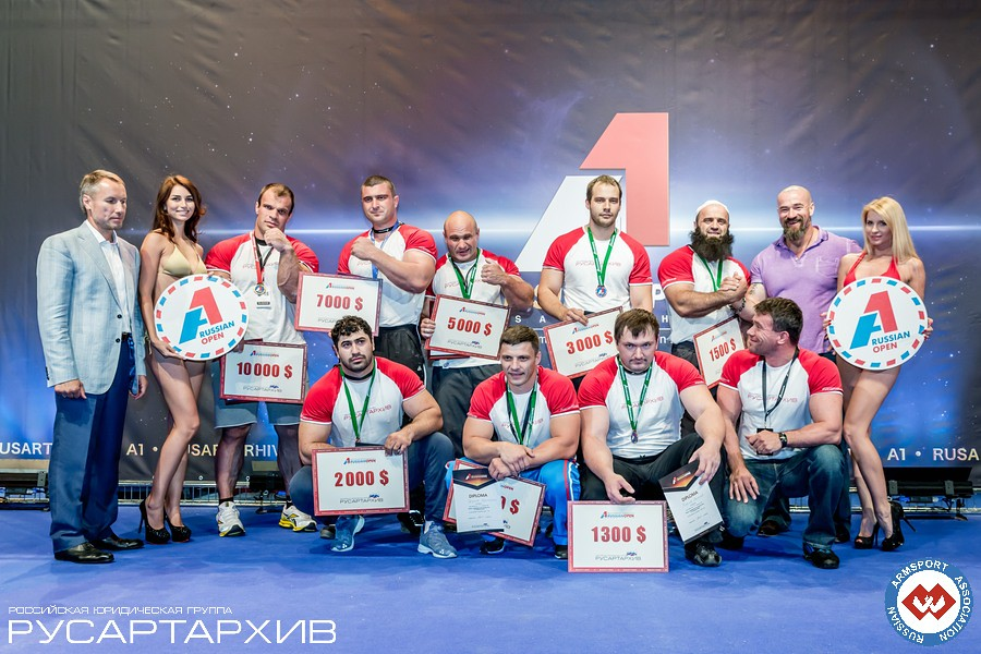 Absolute (Open) Weight Class – left hand winners an prizes │ A1 RUSSIAN OPEN 2013, Photo Source: armsport-rus.ru