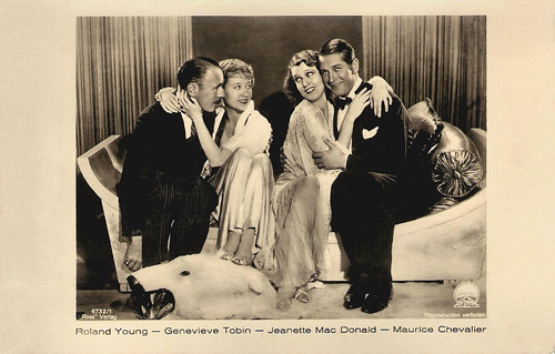 Roland Young, Genevieve Tobin, Jeanette MacDonald and Maurice Chevalier in One Hour With You